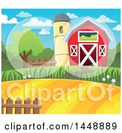 Clipart Of A Barn And Silo With Farmland Royalty Free Vector Illustration by visekart