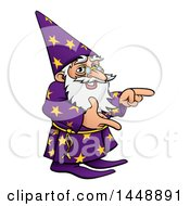 Clipart Of A Cartoon Old Wizard Pointing Royalty Free Vector Illustration