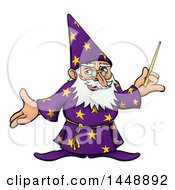 Clipart Of A Cartoon Old Wizard Holding A Wand And Presenting Royalty Free Vector Illustration