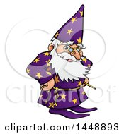 Clipart Of A Cartoon Old Wizard With Hands On His Hips Royalty Free Vector Illustration