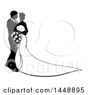 Clipart Of A Black And White Silhouetted Posing Wedding Bride And Groom Royalty Free Vector Illustration