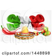 Clipart Of A 3d Mexican Flag Colored Cinco De Mayo Text Design With A Sombrero Chili Pepper And Maracas Royalty Free Vector Illustration by AtStockIllustration