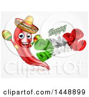 Clipart Of A 3d Mexican Flag Colored Happy Cinco De Mayo Text Design With A Chile Pepper Mascot Holding Maracas Royalty Free Vector Illustration by AtStockIllustration