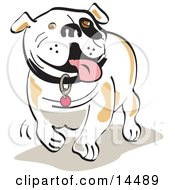Happy Bulldog Walking And Hanging His Tongue Out Clipart Illustration