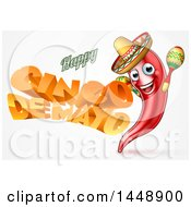 Clipart Of A 3d Orange Happy Cinco De Mayo Text With A Chile Pepper Character Wearing A Sombrero And Playing Maracas Royalty Free Vector Illustration by AtStockIllustration