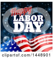 Poster, Art Print Of Waving American Flag With Flares And Happy Labor Day Text