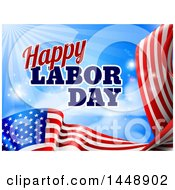 Waving American Flag With Flares And Happy Labor Day Text