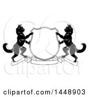 Clipart Of A Black And White Heraldic Coat Of Arm Shield Of Two Cats Royalty Free Vector Illustration