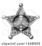 Clipart Of A Black And White Vintage Etched Engraved Sheriff Star Badge Royalty Free Vector Illustration by AtStockIllustration
