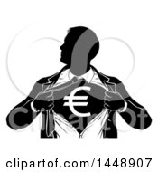 Clipart Of A Black And White Silhouetted Strong Business Man Super Hero Ripping Off His Suit Revealing A Euro Currency Symbol Royalty Free Vector Illustration
