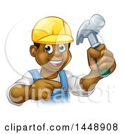 Clipart Of A Cartoon Happy Black Male Carpenter Holding A Hammer And Pointing Royalty Free Vector Illustration
