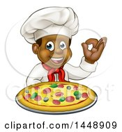 Clipart Of A Cartoon Happy Black Male Chef Gesturing Ok And Holding A Pizza Royalty Free Vector Illustration