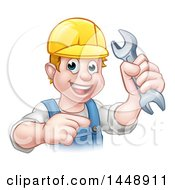 Clipart Of A Cartoon Happy White Male Mechanic Holding A Spanner Wrench And Pointing Royalty Free Vector Illustration