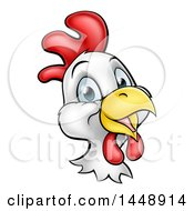 Clipart Of A Cartoon Happy Chicken Face Royalty Free Vector Illustration by AtStockIllustration