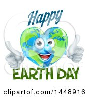 Clipart Of A Heart Shaped Globe Mascot Giving Two Thumbs Up With Happy Earth Day Text Royalty Free Vector Illustration