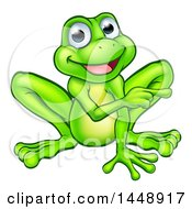 Clipart Of A Cartoon Happy Green Frog Mascot Sitting And Pointing Royalty Free Vector Illustration by AtStockIllustration
