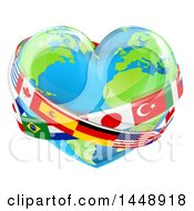 Clipart Of A Heart Earth Globe With National Flag Sashes Royalty Free Vector Illustration by AtStockIllustration