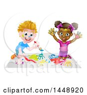 Clipart Of A Happy White Boy And Black Girl Painting Royalty Free Vector Illustration