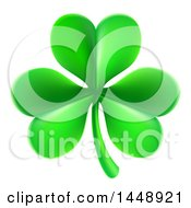 Clipart Of A St Patricks Day Shamrock Clover Leaf Royalty Free Vector Illustration by AtStockIllustration