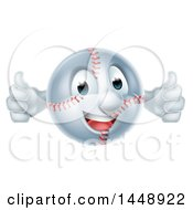Cartoon Happy Baseball Mascot Giving Two Thumbs Up