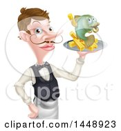 White Male Waiter Or Butler With A Curling Mustache Holding Fish And A Chips On A Tray And Pointing
