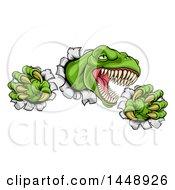 Poster, Art Print Of Cartoon Roaring Green Tyrannosaurus Rex Dinosaur Slashing Through Metal
