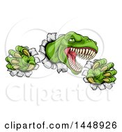Clipart Of A Cartoon Roaring Green Tyrannosaurus Rex Dinosaur Slashing Through Metal Royalty Free Vector Illustration