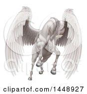 Poster, Art Print Of Majestic White Winged Horse Pegasus Flying Forward