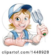 Clipart Of A Cartoon Happy White Female Gardener In Blue Holding A Garden Fork And Pointing Royalty Free Vector Illustration