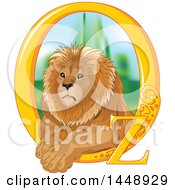 Clipart Of A Male Lion Resting In A Golden Oz Frame Royalty Free Vector Illustration by Pushkin