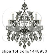 Clipart Of A Beautify Fancy Chandelier With Lit Candles Royalty Free Vector Illustration by Pushkin