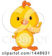 Clipart Of A Cute Adorable Baby Chick Giving A Thumb Up Royalty Free Vector Illustration by Pushkin