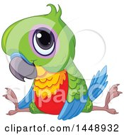 Clipart Of A Cute Adorable Baby Parrot Doing The Splits Royalty Free Vector Illustration