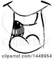 Clipart Of A Black And White Doodle Sketched Male Mouth Royalty Free Vector Illustration by yayayoyo