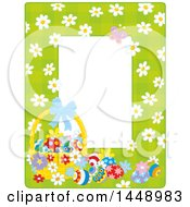 Clipart Of A Vertical Green Gingham Background Frame Border With Daisy Flowers A Butterfly And Easter Basket With Eggs Royalty Free Vector Illustration