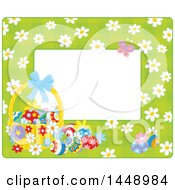 Horizontal Green Gingham Background Frame Border With Daisy Flowers A Butterfly And Easter Basket With Eggs