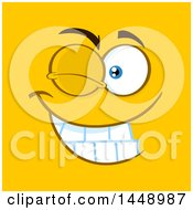 Clipart Of A Winking Face On Yellow Royalty Free Vector Illustration