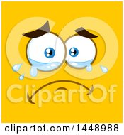 Clipart Of A Crying Face On Yellow Royalty Free Vector Illustration