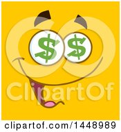 Poster, Art Print Of Greedy Face With Dollar Eyes On Yellow