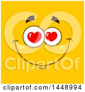 Clipart Of A Happy Face With Love Heart Eyes On Yellow Royalty Free Vector Illustration