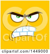 Clipart Of A Furious Face On Yellow Royalty Free Vector Illustration