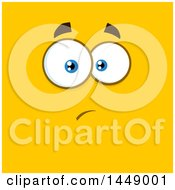 Clipart Of A Worried Face On Yellow Royalty Free Vector Illustration