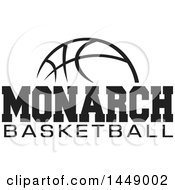 Clipart Of A Black And White Ball With Monarch Basketball Text Royalty Free Vector Illustration