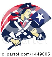 Clipart Graphic Of A Retro Female American Patriot Minuteman Revolutionary Soldier With A Flag Banner Royalty Free Vector Illustration