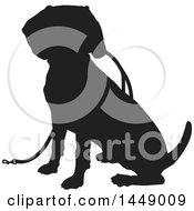 Clipart Graphic Of A Black And White Silhouetted Beagle Dog Sitting With A Leash Royalty Free Vector Illustration
