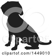 Clipart Graphic Of A Black And White Silhouetted Beagle Dog Sitting Royalty Free Vector Illustration