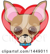 Poster, Art Print Of Cute Chihuahua Dog Face Over A Red Love Heart