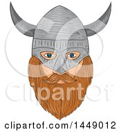 Clipart Graphic Of A Drawing Sketched Styled Viking Head With A Helmet Royalty Free Vector Illustration