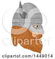 Clipart Graphic Of A Drawing Sketched Styled Viking Head With A Helmet In Profile Royalty Free Vector Illustration