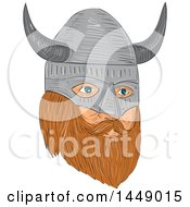 Clipart Graphic Of A Drawing Sketched Styled Viking Head With A Helmet In Quarter View Royalty Free Vector Illustration